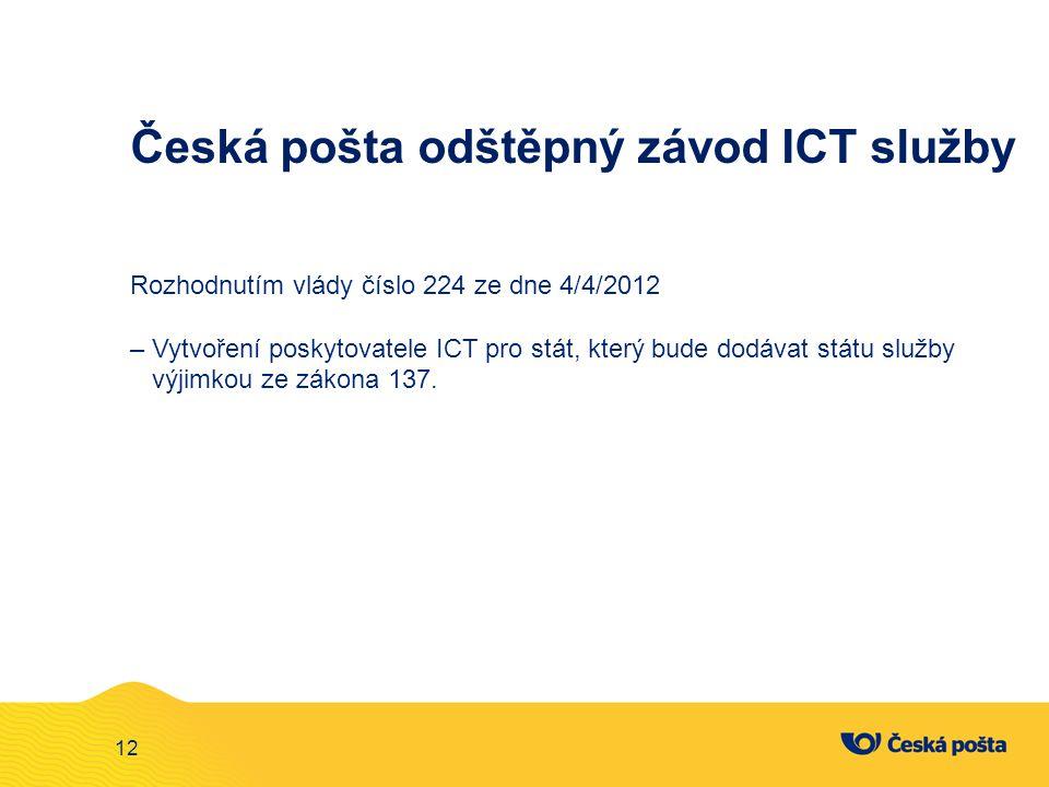 12 Česká pošta odštěpný závod ICT služby Rozhodnutím vlády číslo 224 ze dne 4/4/2012 – Vytvoření poskytovatele ICT pro stát, který bude dodávat státu