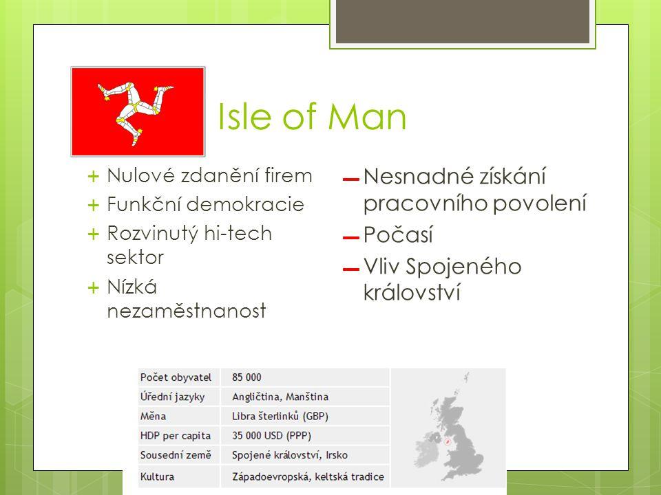 Isle of Man  Nulové zdanění firem  Funkční demokracie  Rozvinutý hi-tech sektor  Nízká nezaměstnanost ▬ Nesnadné získání pracovního povolení ▬ Počasí ▬ Vliv Spojeného království