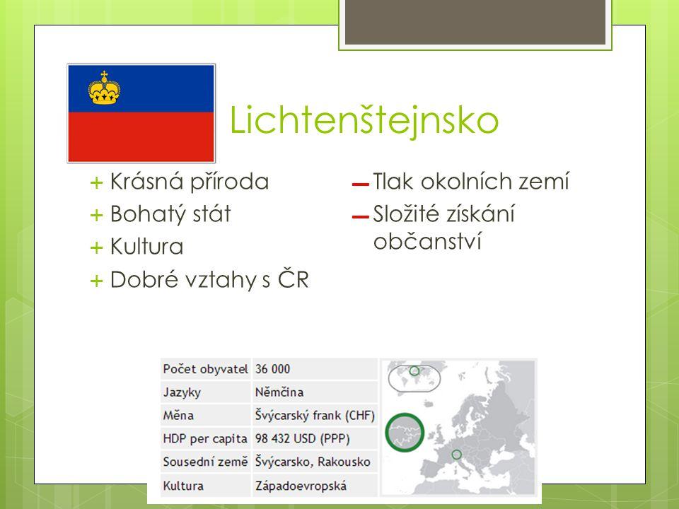 Lichtenštejnsko  Krásná příroda  Bohatý stát  Kultura  Dobré vztahy s ČR ▬ Tlak okolních zemí ▬ Složité získání občanství