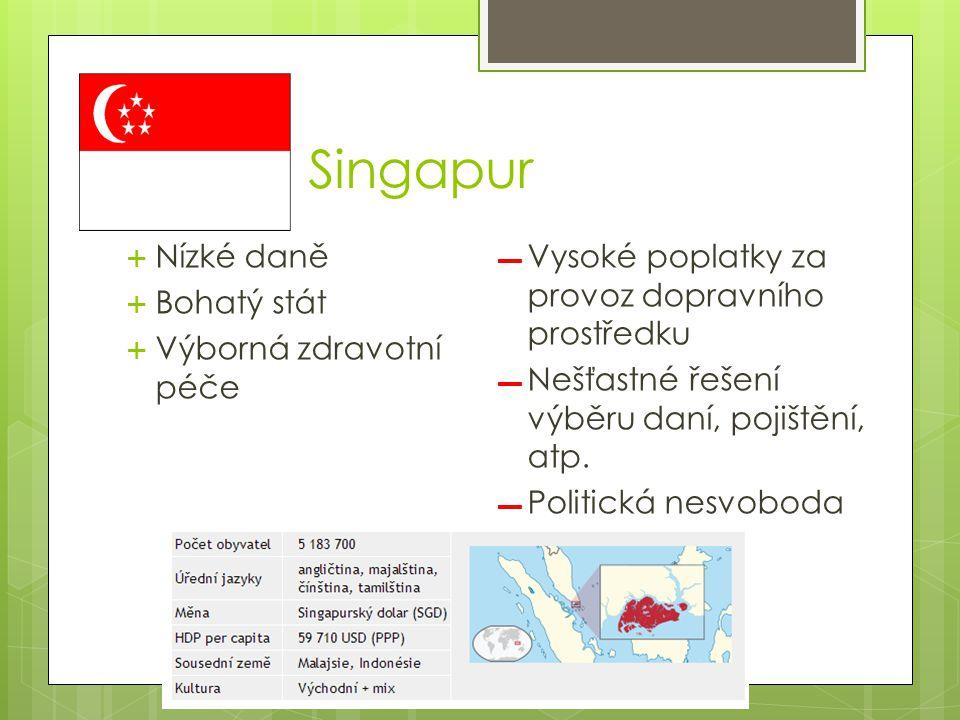Singapur  Nízké daně  Bohatý stát  Výborná zdravotní péče ▬ Vysoké poplatky za provoz dopravního prostředku ▬ Nešťastné řešení výběru daní, pojištění, atp.
