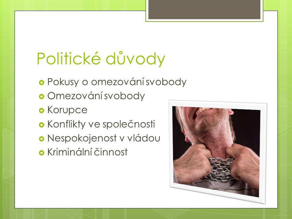 Politické důvody  Pokusy o omezování svobody  Omezování svobody  Korupce  Konflikty ve společnosti  Nespokojenost v vládou  Kriminální činnost