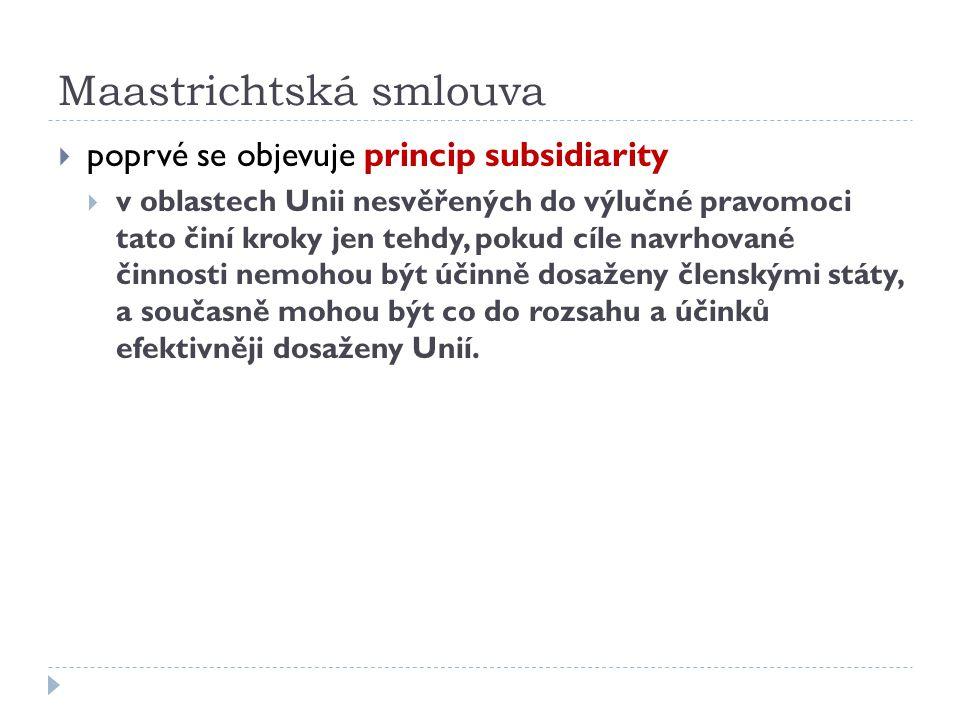 Maastrichtská smlouva  poprvé se objevuje princip subsidiarity  v oblastech Unii nesvěřených do výlučné pravomoci tato činí kroky jen tehdy, pokud c