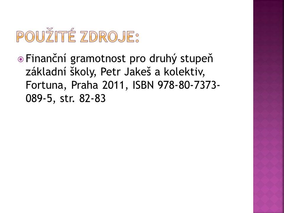  Finanční gramotnost pro druhý stupeň základní školy, Petr Jakeš a kolektiv, Fortuna, Praha 2011, ISBN 978-80-7373- 089-5, str. 82-83