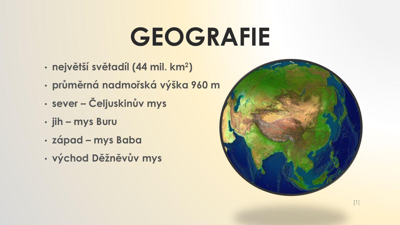 GEOGRAFIE největší světadíl (44 mil.