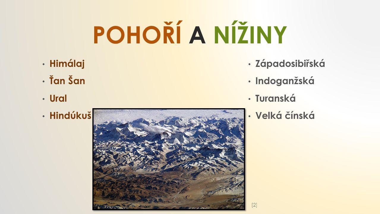 POHOŘÍ A NÍŽINY Himálaj Ťan Šan Ural Hindúkuš Západosibiřská Indoganžská Turanská Velká čínská [2][2]