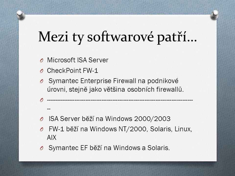 Mezi ty softwarové patří… O Microsoft ISA Server O CheckPoint FW-1 O Symantec Enterprise Firewall na podnikové úrovni, stejně jako většina osobních firewallů.