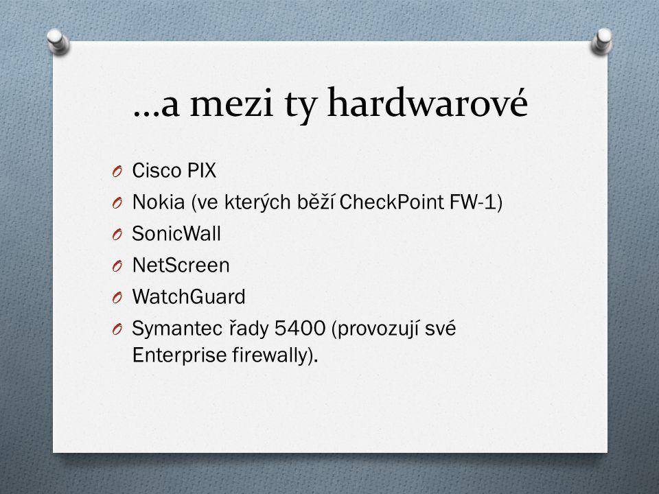 …a mezi ty hardwarové O Cisco PIX O Nokia (ve kterých běží CheckPoint FW-1) O SonicWall O NetScreen O WatchGuard O Symantec řady 5400 (provozují své Enterprise firewally).