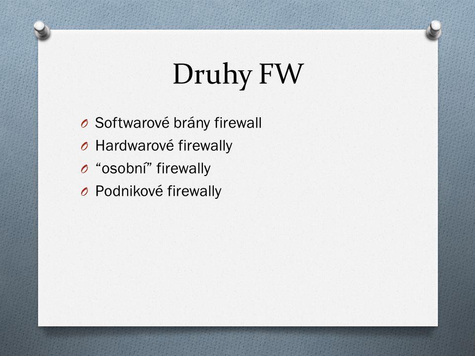 Druhy FW O Softwarové brány firewall O Hardwarové firewally O osobní firewally O Podnikové firewally