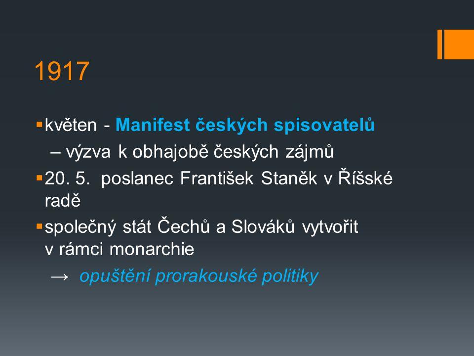 1917  květen - Manifest českých spisovatelů – výzva k obhajobě českých zájmů  20.