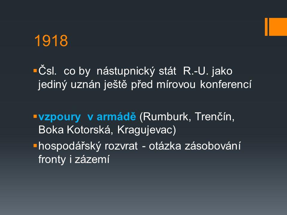 1918  Čsl.co by nástupnický stát R.-U.