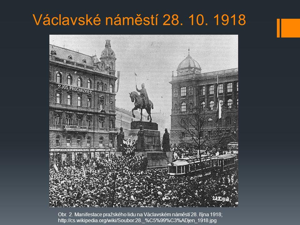 Václavské náměstí 28.10. 1918 Obr. 2. Manifestace pražského lidu na Václavském náměstí 28.
