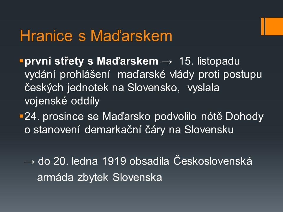 Hranice s Maďarskem  první střety s Maďarskem → 15.