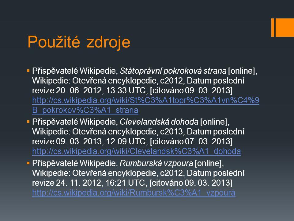 Použité zdroje  Přispěvatelé Wikipedie, Státoprávní pokroková strana [online], Wikipedie: Otevřená encyklopedie, c2012, Datum poslední revize 20.