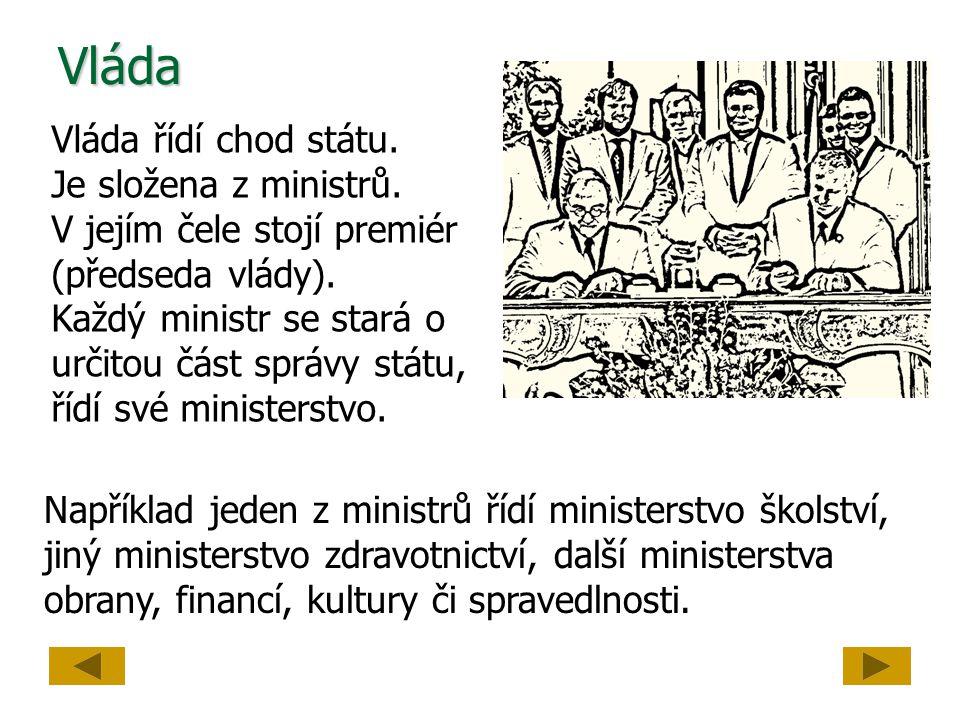 Vláda Vláda řídí chod státu. Je složena z ministrů. V jejím čele stojí premiér (předseda vlády). Každý ministr se stará o určitou část správy státu, ř