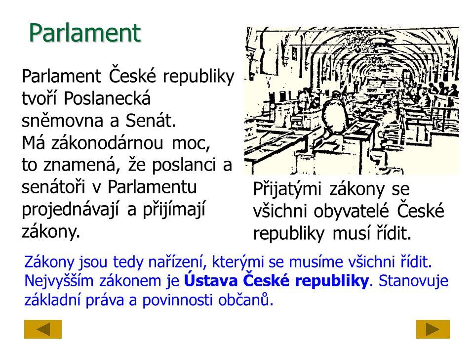 Parlament Parlament České republiky tvoří Poslanecká sněmovna a Senát. Má zákonodárnou moc, to znamená, že poslanci a senátoři v Parlamentu projednáva