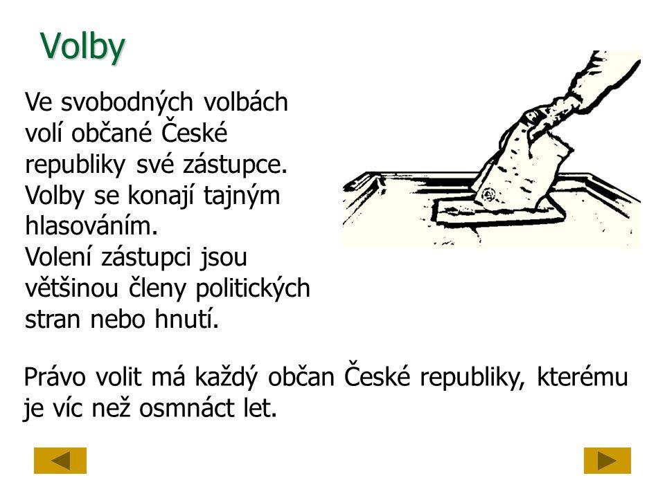 Volby Ve svobodných volbách volí občané České republiky své zástupce. Volby se konají tajným hlasováním. Volení zástupci jsou většinou členy politický