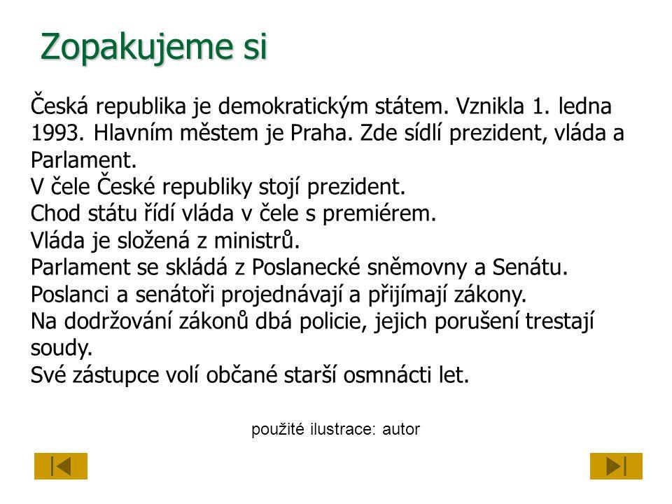 Zopakujeme si Česká republika je demokratickým státem. Vznikla 1. ledna 1993. Hlavním městem je Praha. Zde sídlí prezident, vláda a Parlament. V čele