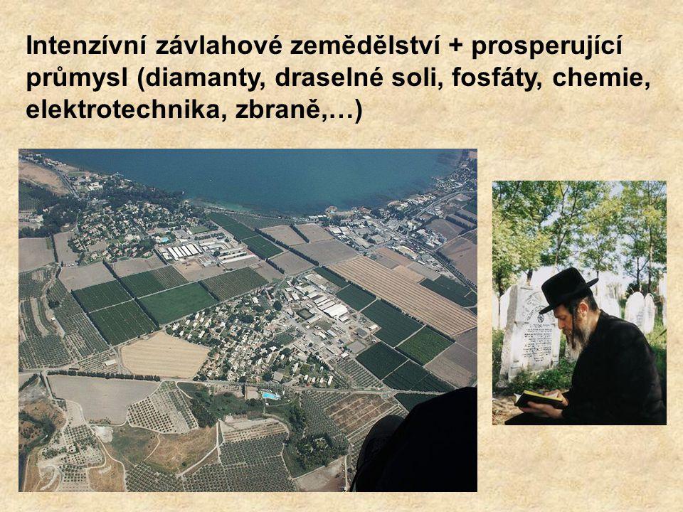 Intenzívní závlahové zemědělství + prosperující průmysl (diamanty, draselné soli, fosfáty, chemie, elektrotechnika, zbraně,…)