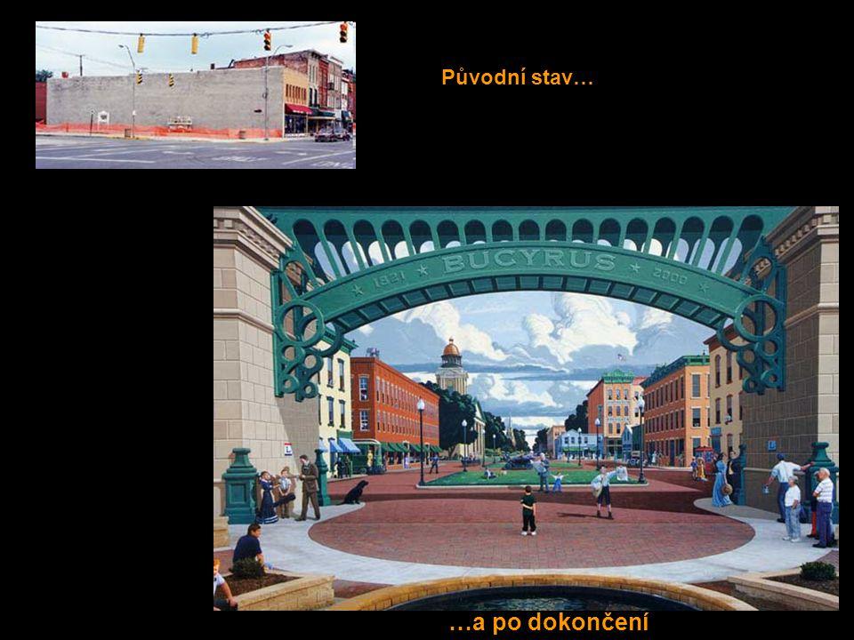Great American Crossroad (velká americká křižovatka) Takto vypadalo náměstí počátkem minulého století Sundusky Avenue, město Bucyrus ve státě Ohio