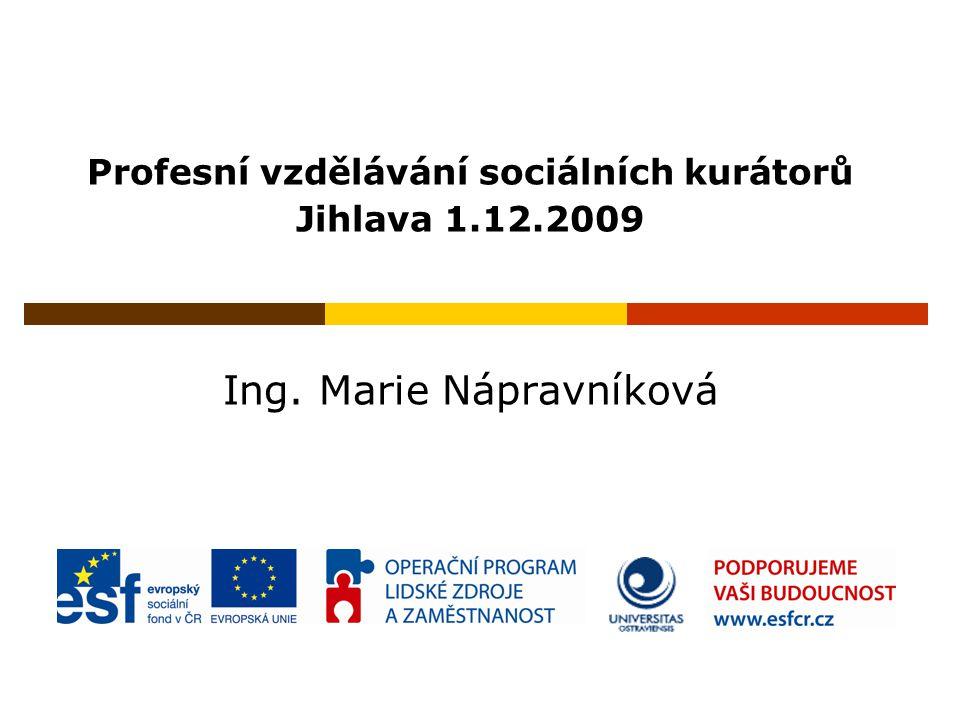 Profesní vzdělávání sociálních kurátorů Jihlava 1.12.2009 Ing. Marie Nápravníková