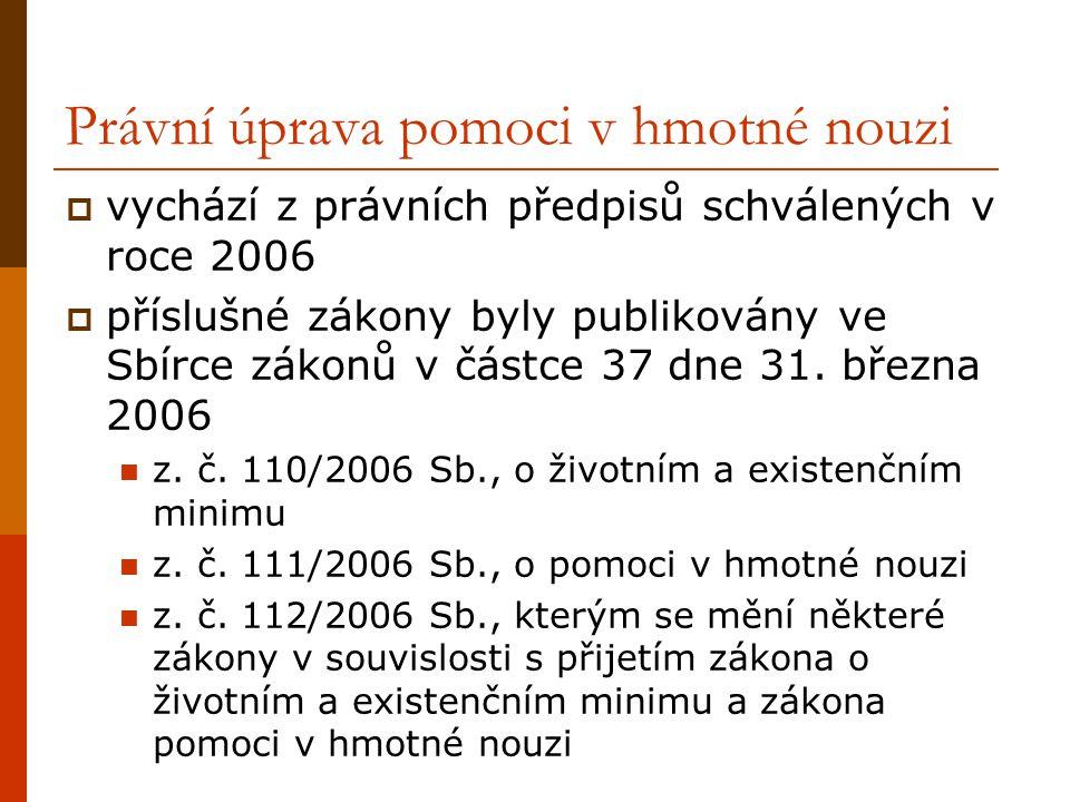 Právní úprava pomoci v hmotné nouzi  vychází z právních předpisů schválených v roce 2006  příslušné zákony byly publikovány ve Sbírce zákonů v částce 37 dne 31.