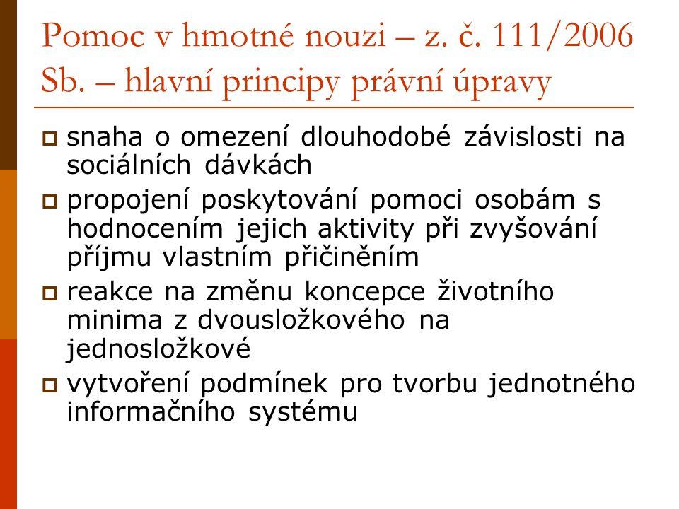 Pomoc v hmotné nouzi – z.č. 111/2006 Sb.