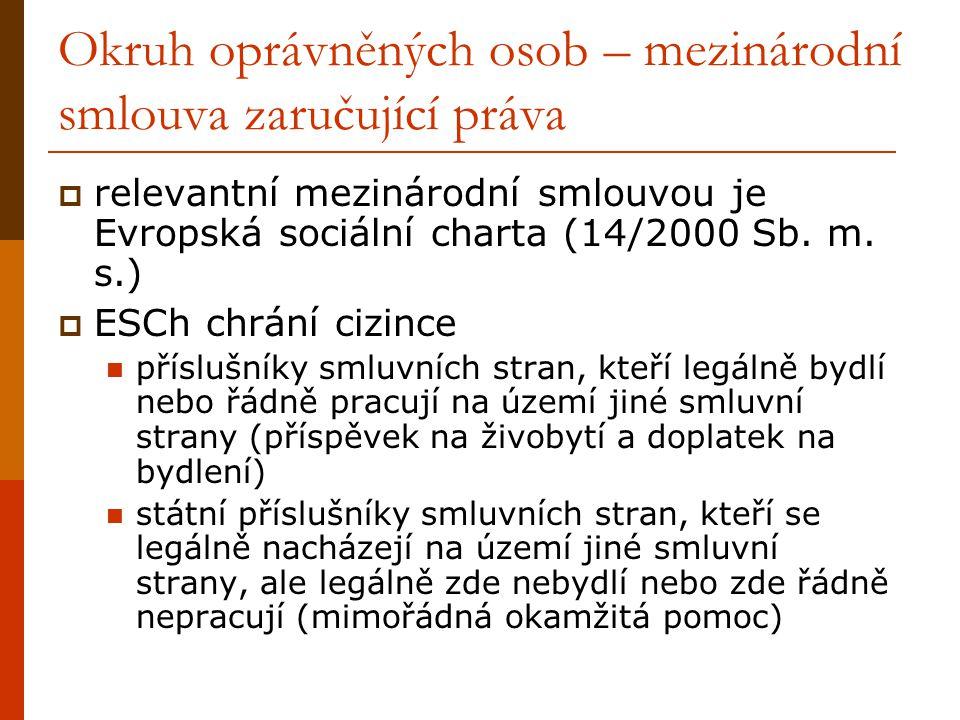 Okruh oprávněných osob – mezinárodní smlouva zaručující práva  relevantní mezinárodní smlouvou je Evropská sociální charta (14/2000 Sb.