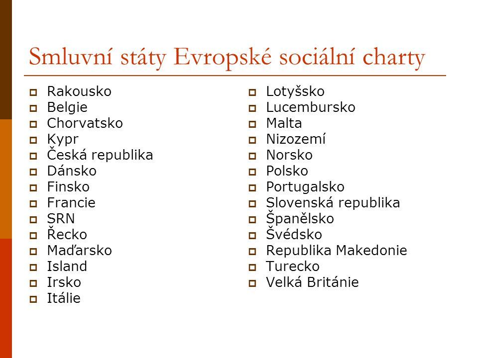 Smluvní státy Evropské sociální charty  Rakousko  Belgie  Chorvatsko  Kypr  Česká republika  Dánsko  Finsko  Francie  SRN  Řecko  Maďarsko  Island  Irsko  Itálie  Lotyšsko  Lucembursko  Malta  Nizozemí  Norsko  Polsko  Portugalsko  Slovenská republika  Španělsko  Švédsko  Republika Makedonie  Turecko  Velká Británie