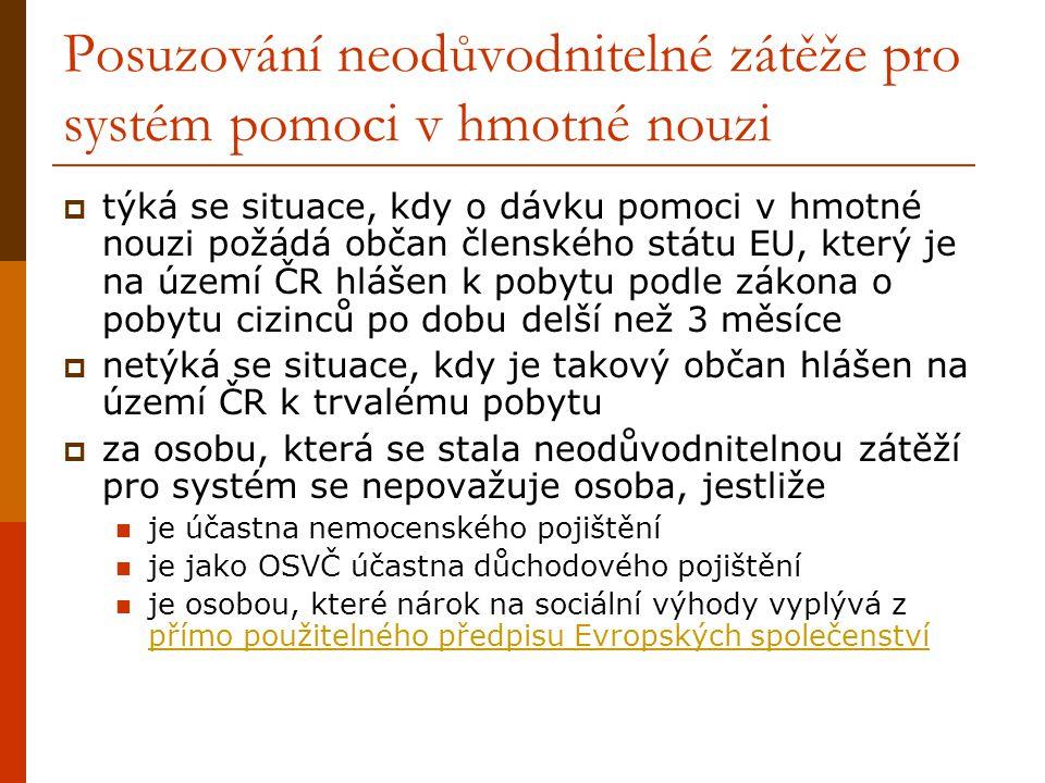 Posuzování neodůvodnitelné zátěže pro systém pomoci v hmotné nouzi  týká se situace, kdy o dávku pomoci v hmotné nouzi požádá občan členského státu EU, který je na území ČR hlášen k pobytu podle zákona o pobytu cizinců po dobu delší než 3 měsíce  netýká se situace, kdy je takový občan hlášen na území ČR k trvalému pobytu  za osobu, která se stala neodůvodnitelnou zátěží pro systém se nepovažuje osoba, jestliže je účastna nemocenského pojištění je jako OSVČ účastna důchodového pojištění je osobou, které nárok na sociální výhody vyplývá z přímo použitelného předpisu Evropských společenství přímo použitelného předpisu Evropských společenství