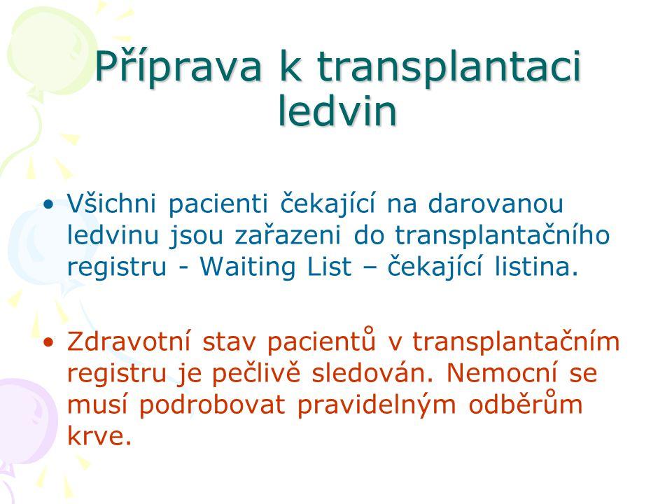 Příprava k transplantaci ledvin Všichni pacienti čekající na darovanou ledvinu jsou zařazeni do transplantačního registru - Waiting List – čekající listina.