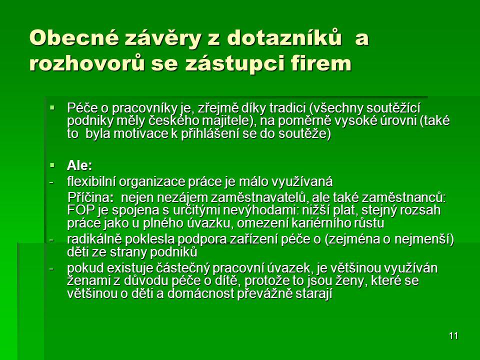 11 Obecné závěry z dotazníků a rozhovorů se zástupci firem  Péče o pracovníky je, zřejmě díky tradici (všechny soutěžící podniky měly českého majitel