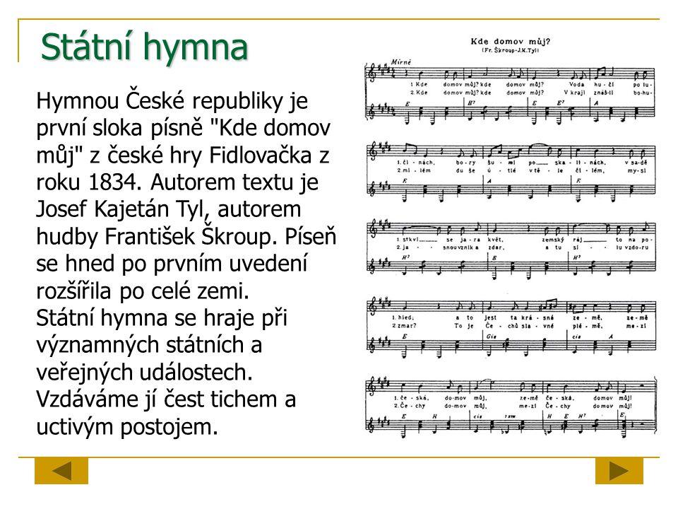 Státní hymna Hymnou České republiky je první sloka písně