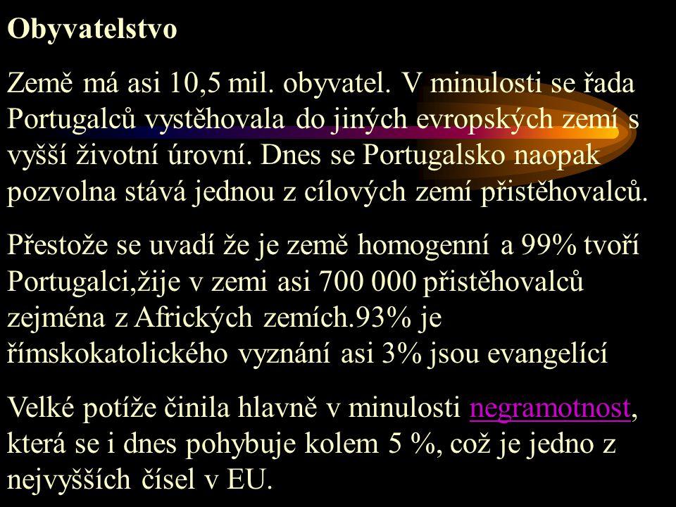 Obyvatelstvo Země má asi 10,5 mil. obyvatel. V minulosti se řada Portugalců vystěhovala do jiných evropských zemí s vyšší životní úrovní. Dnes se Port