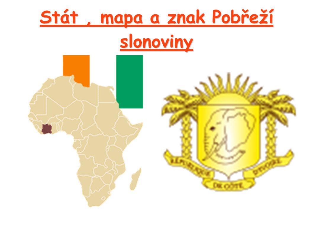 Stát, mapa a znak Pobřeží slonoviny