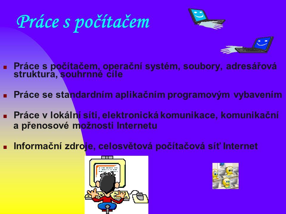 Práce s počítačem Práce s počítačem, operační systém, soubory, adresářová struktura, souhrnné cíle Práce se standardním aplikačním programovým vybaven