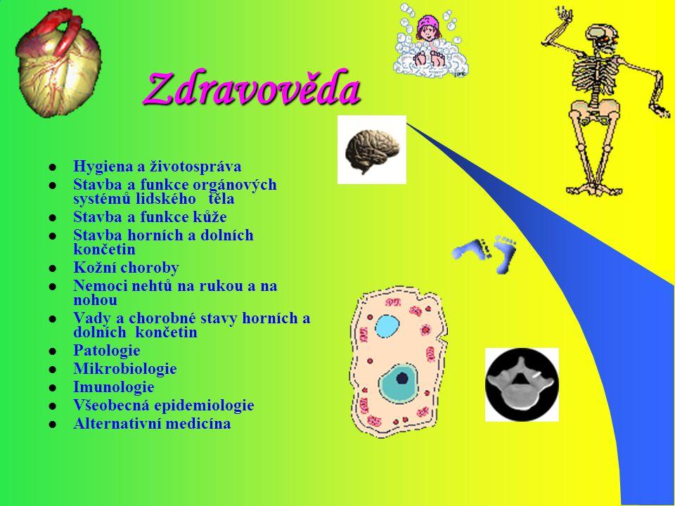 Zdravověda Hygiena a životospráva Stavba a funkce orgánových systémů lidského těla Stavba a funkce kůže Stavba horních a dolních končetin Kožní chorob