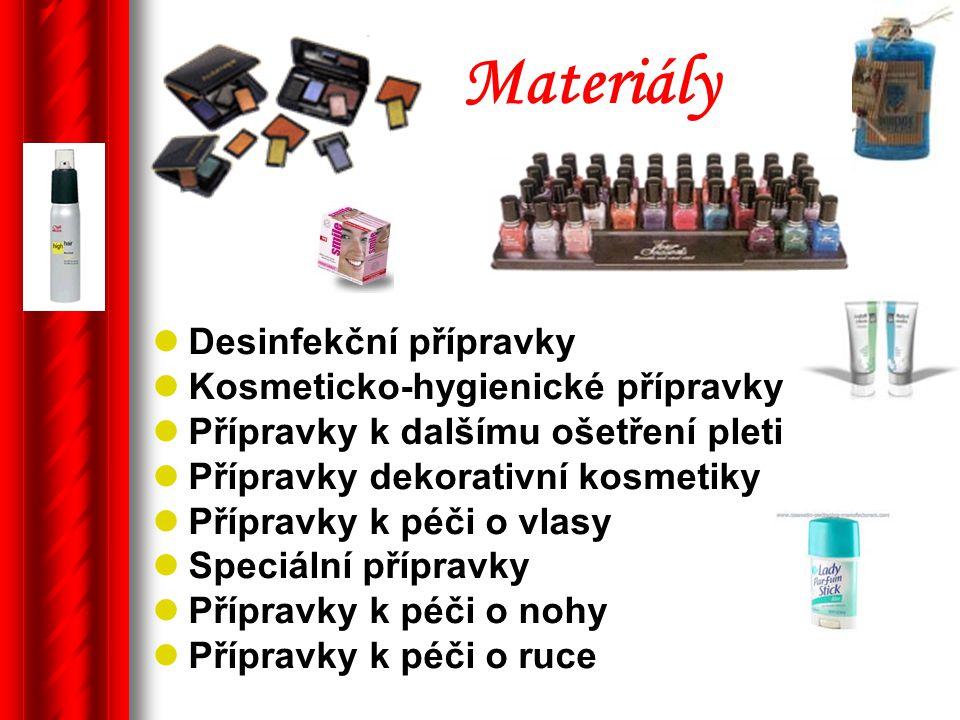Materiály Desinfekční přípravky Kosmeticko-hygienické přípravky Přípravky k dalšímu ošetření pleti Přípravky dekorativní kosmetiky Přípravky k péči o