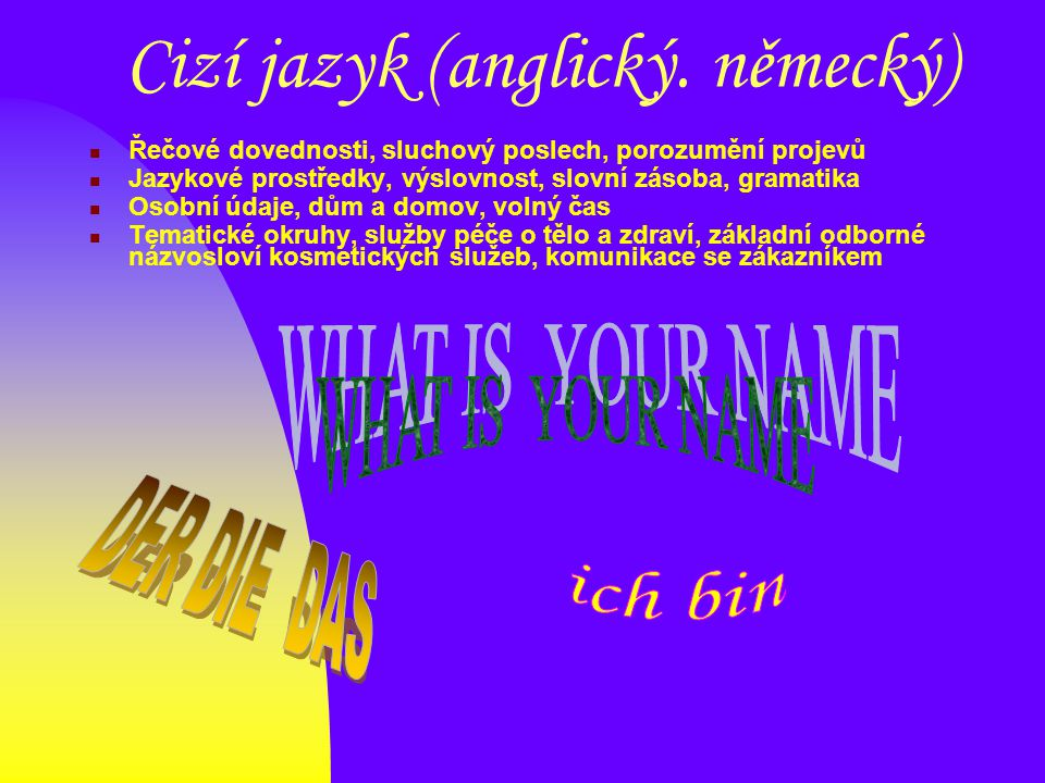 Cizí jazyk (anglický. německý) Řečové dovednosti, sluchový poslech, porozumění projevů Jazykové prostředky, výslovnost, slovní zásoba, gramatika Osobn