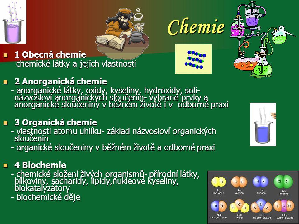 Chemie 1 Obecná chemie 1 Obecná chemie chemické látky a jejich vlastnosti chemické látky a jejich vlastnosti 2 Anorganická chemie 2 Anorganická chemie