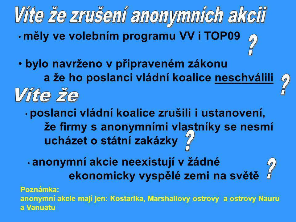 měly ve volebním programu VV i TOP09 bylo navrženo v připraveném zákonu a že ho poslanci vládní koalice neschválili poslanci vládní koalice zrušili i