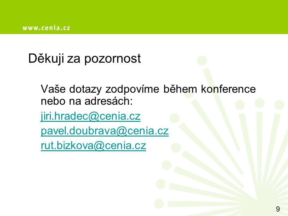 Děkuji za pozornost Vaše dotazy zodpovíme během konference nebo na adresách: jiri.hradec@cenia.cz pavel.doubrava@cenia.cz rut.bizkova@cenia.cz 9