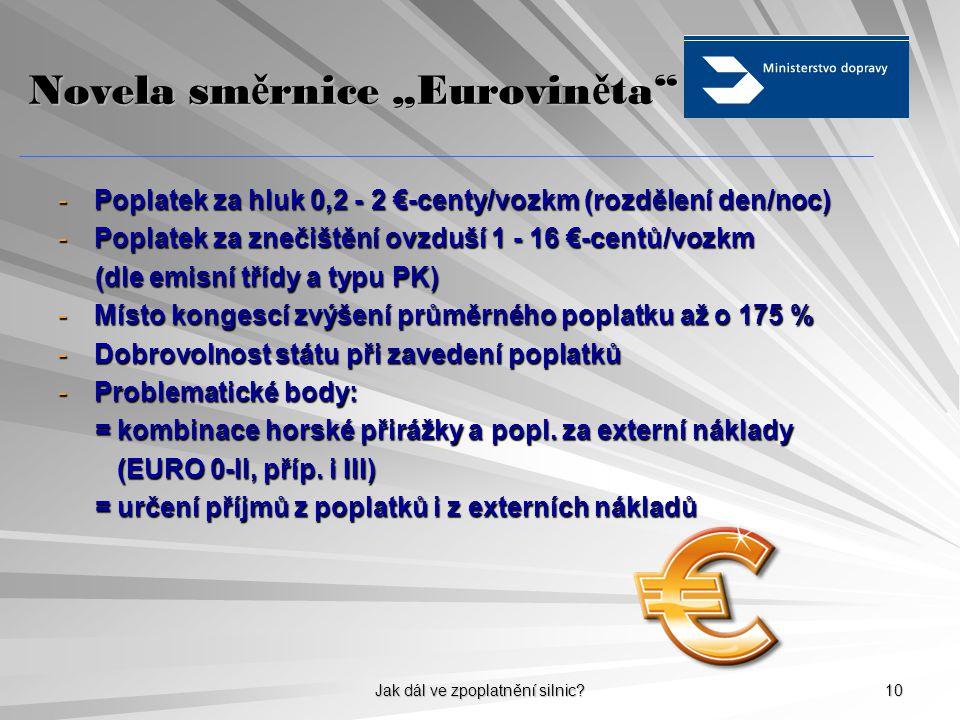 """Jak dál ve zpoplatnění silnic? 10 Novela sm ě rnice """"Eurovin ě ta"""" -Poplatek za hluk 0,2 - 2 €-centy/vozkm (rozdělení den/noc) -Poplatek za znečištění"""