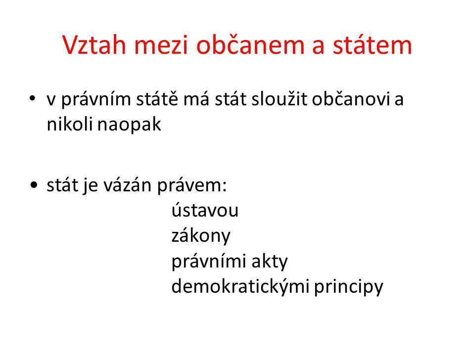 Vztah mezi občanem a státem v právním státě má stát sloužit občanovi a nikoli naopak stát je vázán právem: ústavou zákony právními akty demokratickými principy