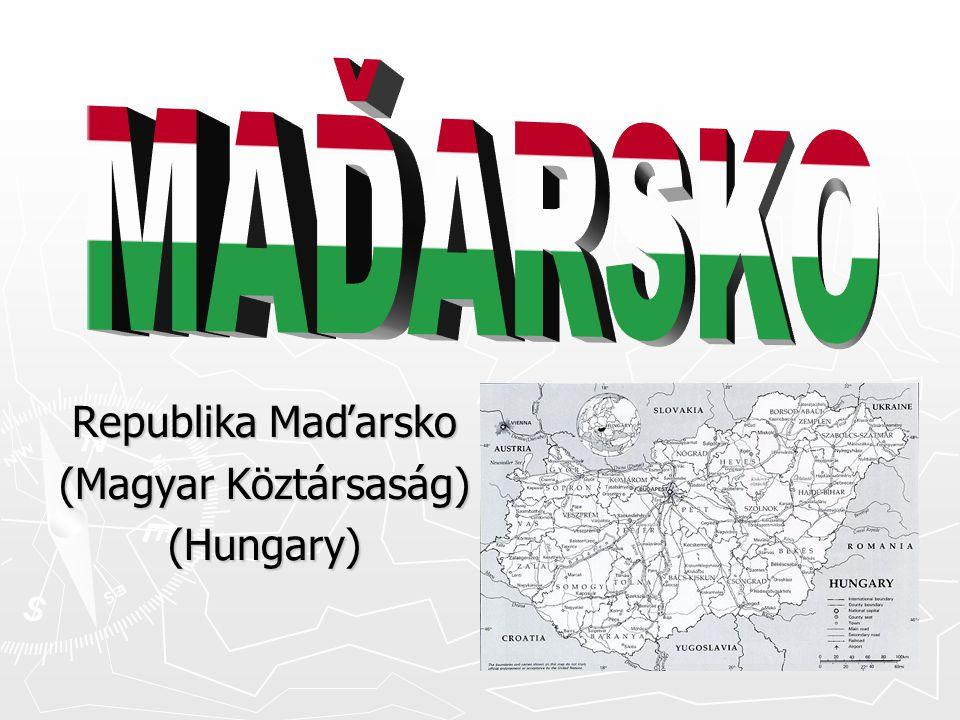 Základní údaje Hlavní město: Budapešť Státní zřízení: republika Počet obyvatel: 10 milionů Rozloha: 93 tisíc km 2 Jazyk: maďarština Měna: forint Členství v mezinárodních organizacích: OSN (www.un.org), NATO (www.nato.cz), EU (http://europa.eu.int/), Visegrádská čtyřka (www.visegrad.info), CEFTA (www.cefta.org)www.visegrad.info