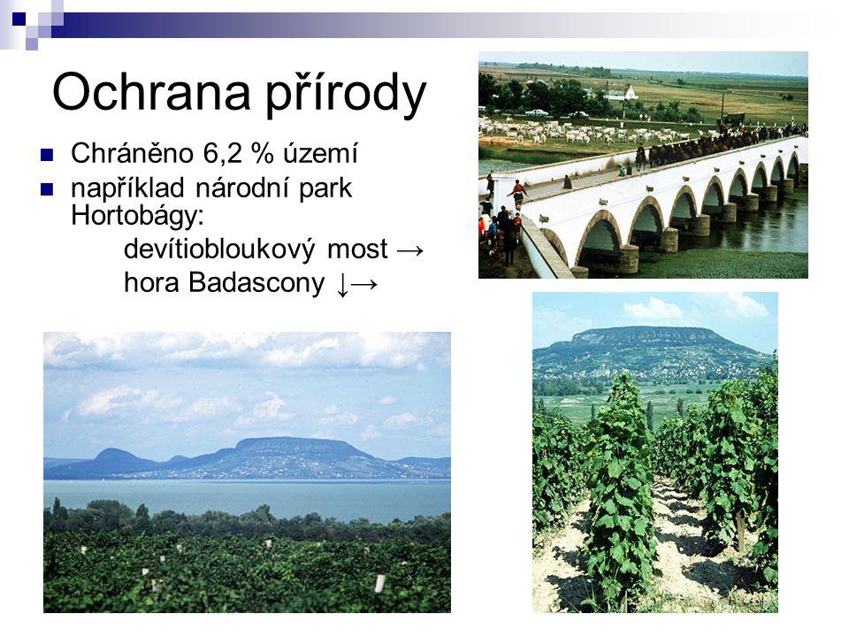 Ochrana přírody Chráněno 6,2 % území například národní park Hortobágy: devítiobloukový most → hora Badascony ↓→