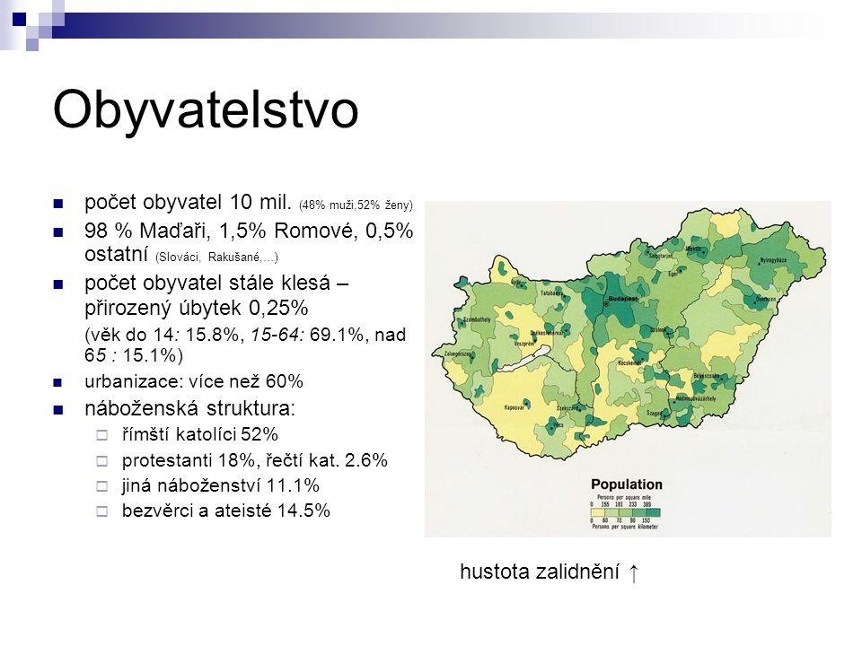 Obyvatelstvo počet obyvatel 10 mil. (48% muži,52% ženy) 98 % Maďaři, 1,5% Romové, 0,5% ostatní (Slováci, Rakušané,…) počet obyvatel stále klesá – přir