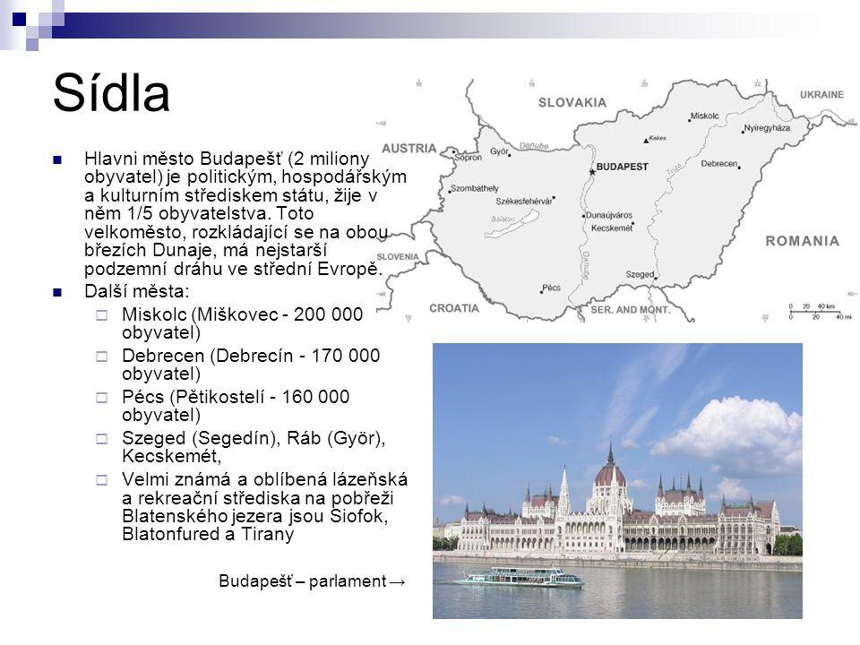 Sídla Hlavni město Budapešť (2 miliony obyvatel) je politickým, hospodářským a kulturním střediskem státu, žije v něm 1/5 obyvatelstva. Toto velkoměst