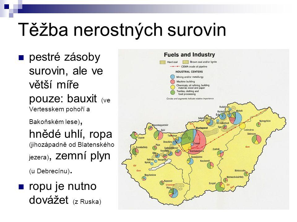 Těžba nerostných surovin pestré zásoby surovin, ale ve větší míře pouze: bauxit (ve Vertesskem pohoří a Bakoňském lese), hnědé uhlí, ropa (jihozápadně
