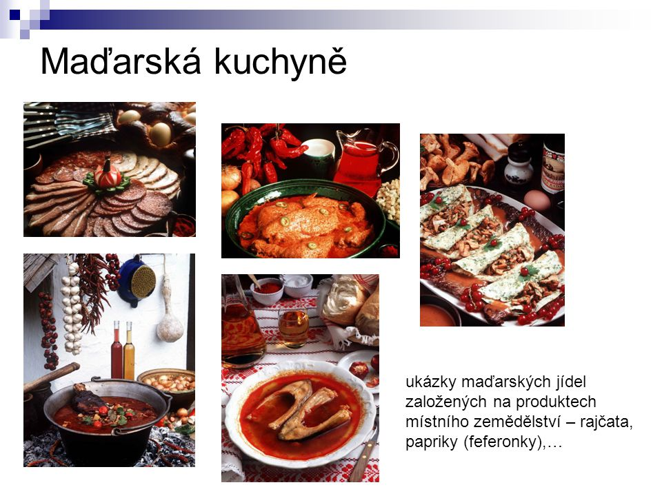 Maďarská kuchyně ukázky maďarských jídel založených na produktech místního zemědělství – rajčata, papriky (feferonky),…