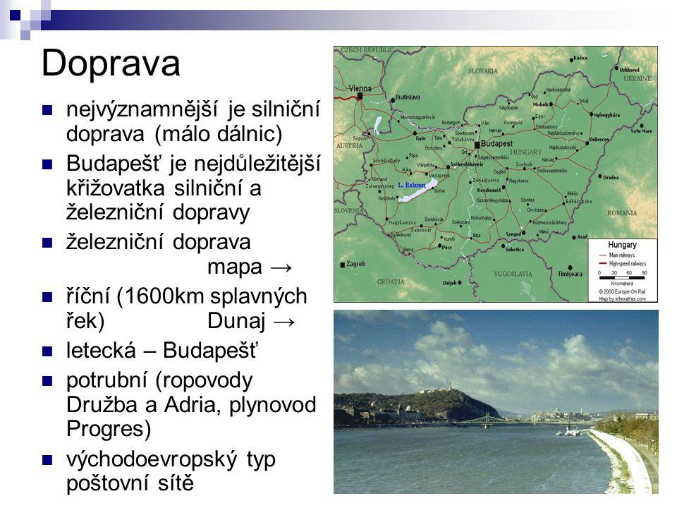 Doprava nejvýznamnější je silniční doprava (málo dálnic) Budapešť je nejdůležitější křižovatka silniční a železniční dopravy železniční doprava mapa →